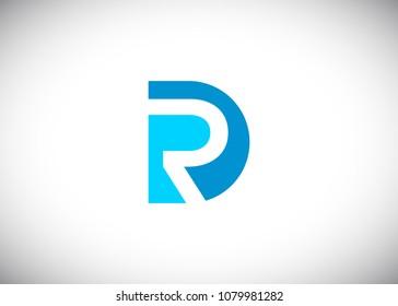 initial letter logo DR, RD, R inside D, logo template