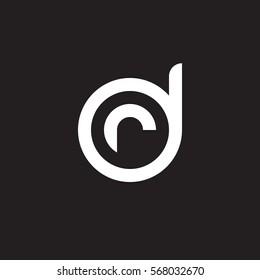 initial letter logo dr, rd, r inside d rounded lowercase white black background