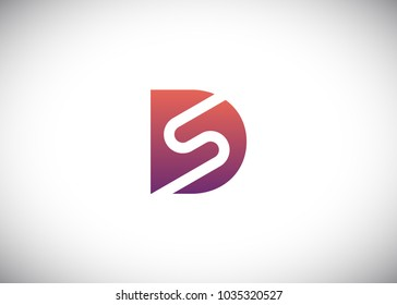 initial letter logo ds, sd, s inside d, logo template