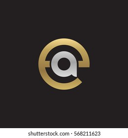 initial letter logo ea, ae, a inside e rounded lowercase logo gold silver