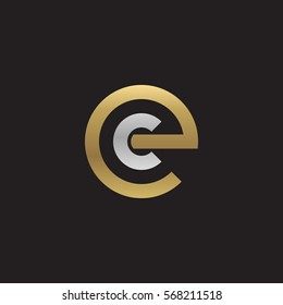 initial letter logo ec, ce, c inside e rounded lowercase logo gold silver