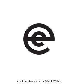initial letter logo ee, e inside e rounded lowercase black monogram
