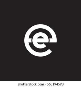 initial letter logo ee, e inside e rounded lowercase white black background