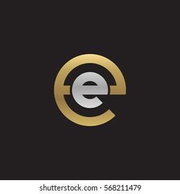 initial letter logo ee, e inside e rounded lowercase logo gold silver