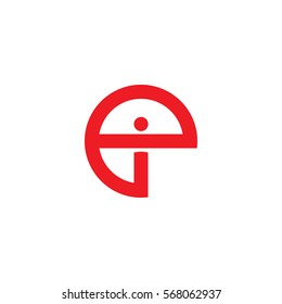 initial letter logo ei, ie, i inside e rounded lowercase red flat