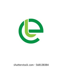 initial letter logo el, le, l inside e rounded lowercase green flat
