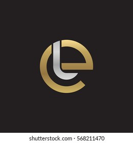 initial letter logo el, le, l inside e rounded lowercase logo gold silver