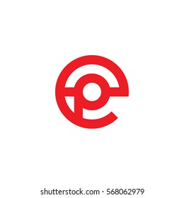 initial letter logo ep, pe, p inside e rounded lowercase red flat