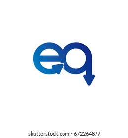 initial letter logo eq, qe, e, q, arrow rounded lowercase blue