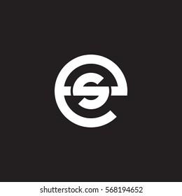 initial letter logo es, se, s inside e rounded lowercase white black background