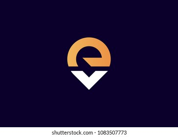 initial letter logo EV, VE, logo template