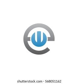 initial letter logo ew, we, w inside e rounded lowercase blue gray