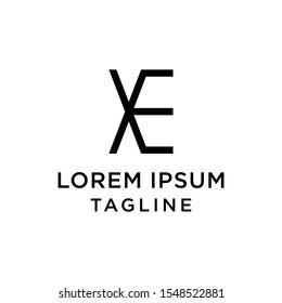 initial letter logo EX, XE logo template