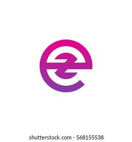initial letter logo ez, ze, z inside e rounded lowercase purple pink