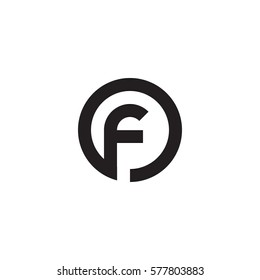 initial letter logo f inside circle shape, of, fo, f inside o rounded lowercase black monogram