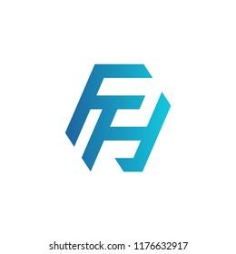 Initial letter logo FH, logo template