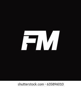 Initial letter logo fm in black background