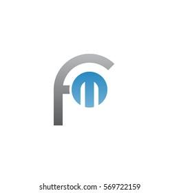 initial letter logo fm, m  inside f rounded lowercase blue gray