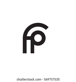 initial letter logo fp rounded lowercase black monogram