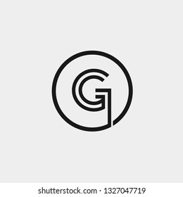Initial letter logo g inside circle shape, og, go, g inside o rounded lowercase black monogram logo template - Vector