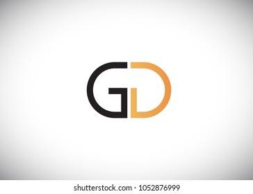 initial letter logo gd, dg, logo template