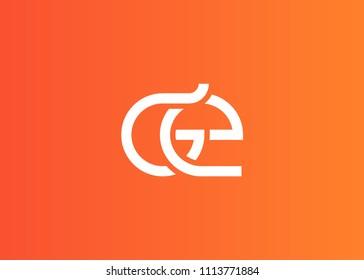 Initial letter logo GE, EG, logo template
