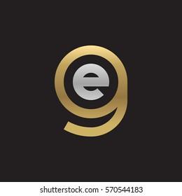 initial letter logo ge, eg, e inside g rounded lowercase logo gold silver