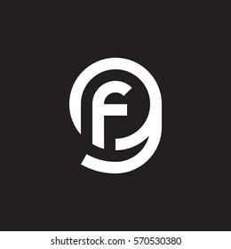 initial letter logo gf, fg, f inside g rounded lowercase white black background