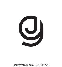 initial letter logo gj, jg, j inside g rounded lowercase black monogram