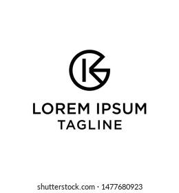 initial letter logo GK, KG, logo template