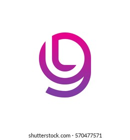 initial letter logo gl, lg, l inside g rounded lowercase purple pink