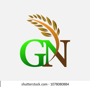 initial letter logo GN, Agriculture wheat Logo Template vector icon design colored green and brown.