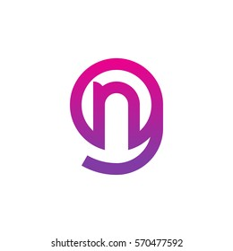 initial letter logo gn, ng, n inside g rounded lowercase purple pink