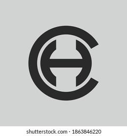 initial letter logo H inside circle shape, CH, HC, H inside C rounded upper case black monogram