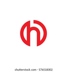 initial letter logo h inside circle shape, oh, ho, h inside o rounded lowercase red flat