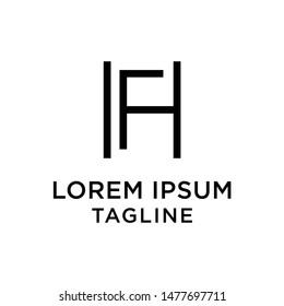 initial letter logo HF, FH, logo template