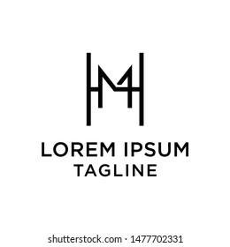 initial letter logo HM, MH, logo template