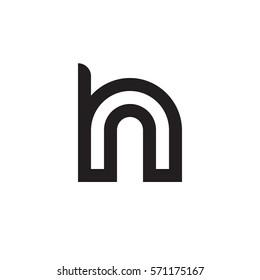initial letter logo hn, nh, n inside h rounded lowercase black monogram