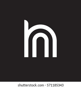 initial letter logo hn, nh, n inside h rounded lowercase white black background