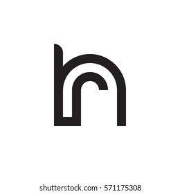 initial letter logo hr, rh, r inside h rounded lowercase black monogram