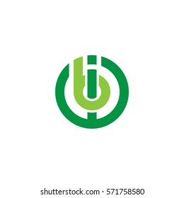 initial letter logo ib, bi, circle rounded lowercase green flat