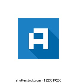 Initial Letter A Logo Icon, Square Letter A Logo, Vector Illustration