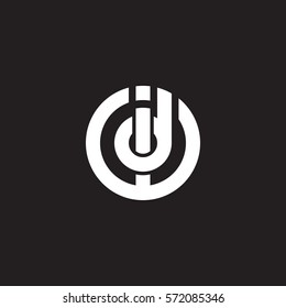 initial letter logo id, di, circle rounded lowercase white black background