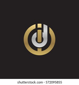 initial letter logo id, di, circle rounded lowercase logo gold silver