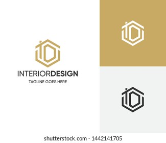 Initial Letter Logo ID-ID With House Concept Interior Logo Design