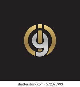 initial letter logo ig, gi, circle rounded lowercase logo gold silver