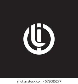 initial letter logo il, li, circle rounded lowercase white black background