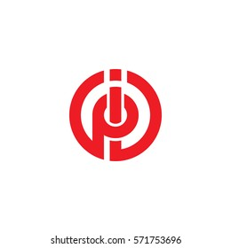 initial letter logo ip, pi, circle rounded lowercase red flat