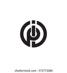 initial letter logo ip, pi, circle rounded lowercase black monogram