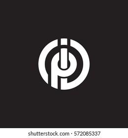 initial letter logo ip, pi, circle rounded lowercase white black background